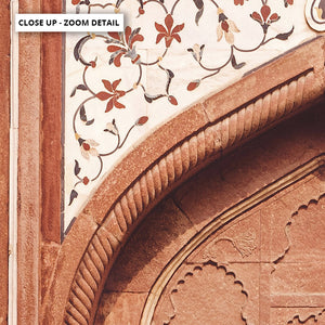 Burnt Orange Arch Old Jaipur - Art Print, Stretched Canvas or Framed Canvas Wall Art, Close up View of Print Resolution