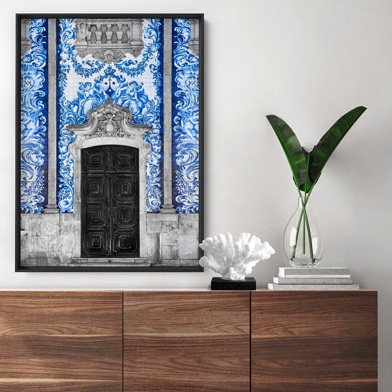 Doorway to Capela das Almas Porto - Art Print, Stretched Canvas or Framed Canvas Wall Art, Shown inside a frame