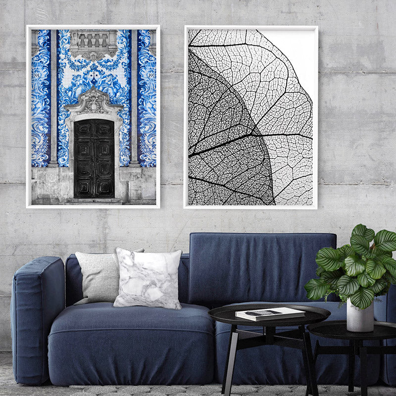 Doorway to Capela das Almas Porto - Art Print, Stretched Canvas or Framed Canvas Wall Art, Shown framed in a room mockup