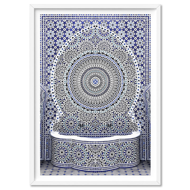 Blue Fountain Casablanca - Art Print, Stretched Canvas, or Framed Canvas Wall Art
