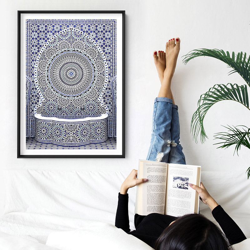 Load image into Gallery viewer, Blue Fountain Casablanca - Art Print, Stretched Canvas or Framed Canvas Wall Art, Shown inside a frame