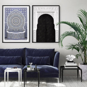 Load image into Gallery viewer, Blue Fountain Casablanca - Art Print, Stretched Canvas or Framed Canvas Wall Art, Shown framed in a room mockup