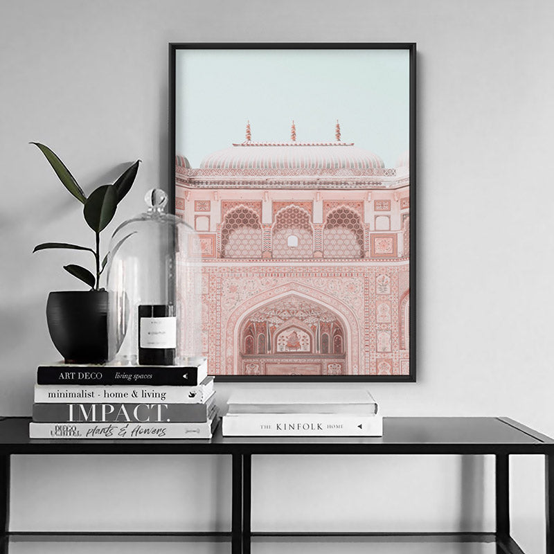 City Palace in Pastels - Art Print, Stretched Canvas or Framed Canvas Wall Art, Shown inside a frame