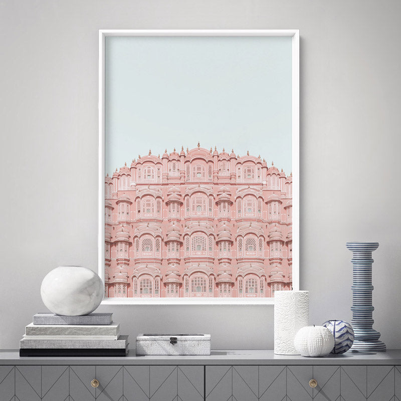 Palace of the Winds in Pastel - Art Print, Stretched Canvas or Framed Canvas Wall Art, Shown inside a frame