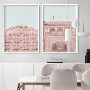 Palace of the Winds in Pastel - Art Print, Stretched Canvas or Framed Canvas Wall Art, Shown framed in a room mockup