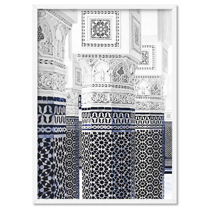 Oriental Luxury, Watercolour Pillars Morocco - Art Print, Stretched Canvas, or Framed Canvas Wall Art