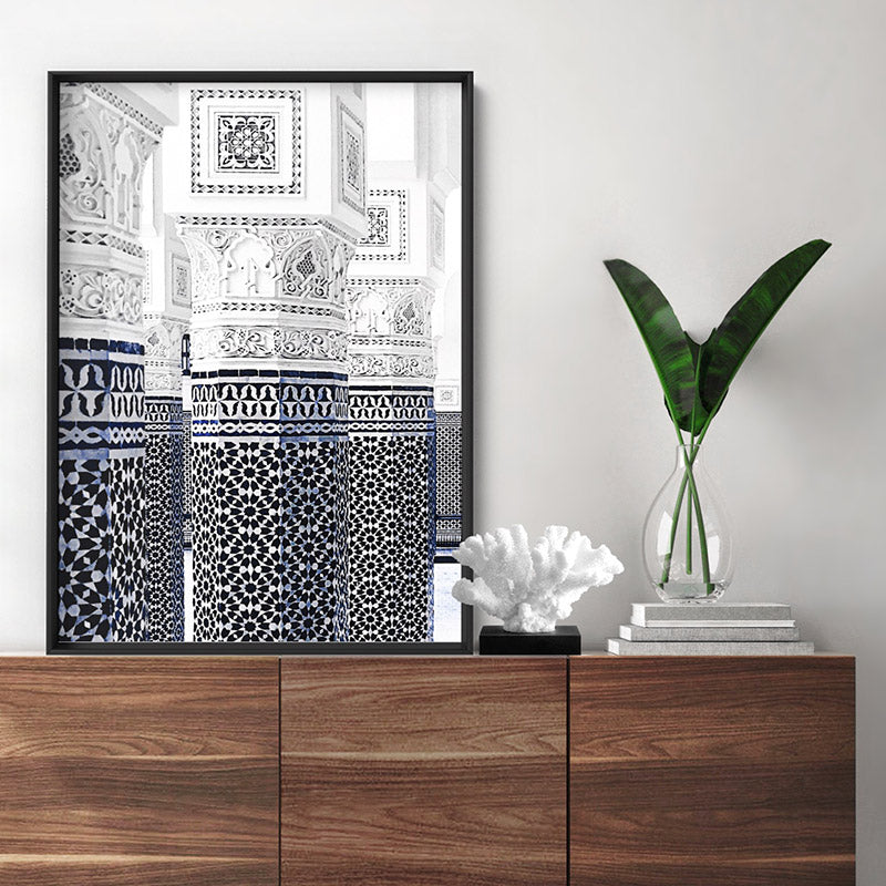 Oriental Luxury, Watercolour Pillars Morocco - Art Print, Stretched Canvas or Framed Canvas Wall Art, Shown inside a frame