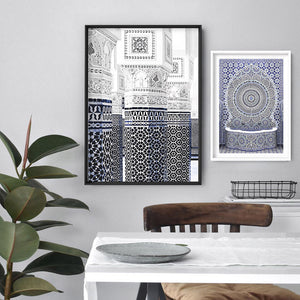 Oriental Luxury, Watercolour Pillars Morocco - Art Print, Stretched Canvas or Framed Canvas Wall Art, Shown framed in a room mockup