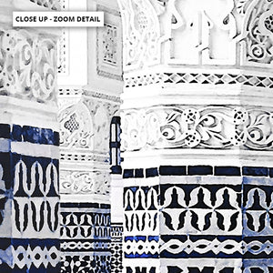 Oriental Luxury, Watercolour Pillars Morocco - Art Print, Stretched Canvas or Framed Canvas Wall Art, Close up View of Print Resolution