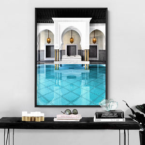 Oriental Poolside Luxe I - Art Print, Stretched Canvas or Framed Canvas Wall Art, Shown inside a frame