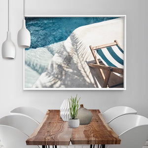 Daydreams by the Pool - Art Print, Stretched Canvas or Framed Canvas Wall Art, Shown inside a frame