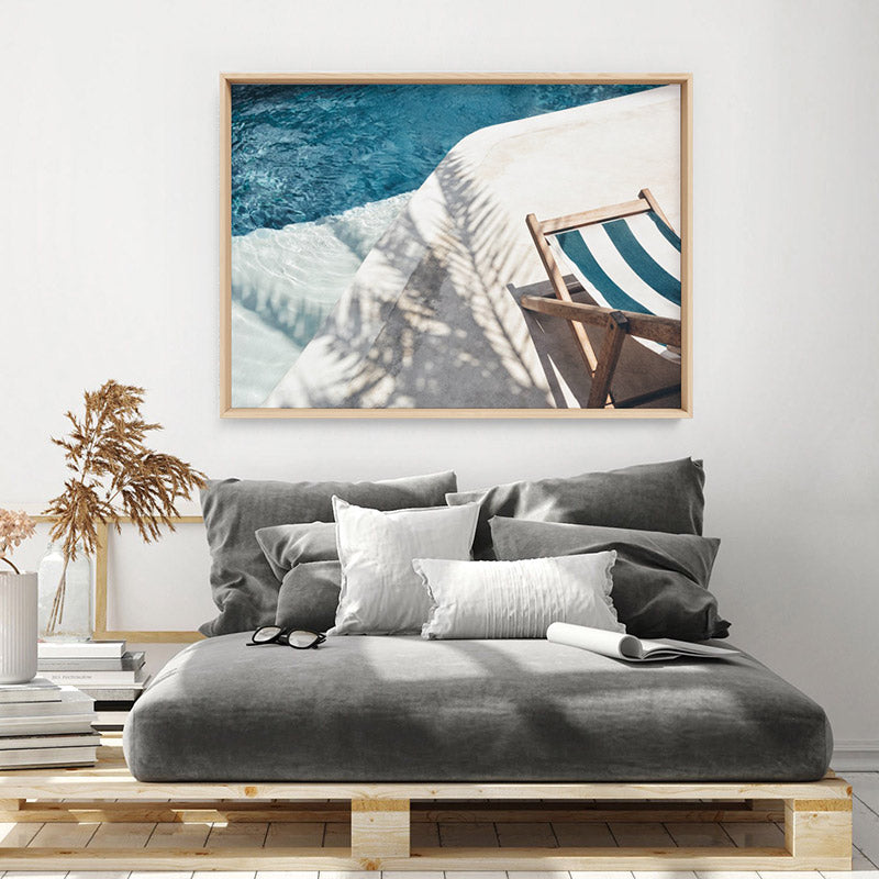 Daydreams by the Pool - Art Print, Stretched Canvas or Framed Canvas Wall Art, Shown framed in a room mockup