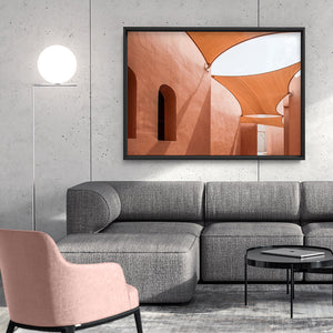 Terracotta Hideaway in Morocco - Art Print, Stretched Canvas or Framed Canvas Wall Art, Shown inside a frame