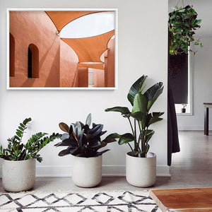 Terracotta Hideaway in Morocco - Art Print, Stretched Canvas or Framed Canvas Wall Art, Shown framed in a room mockup