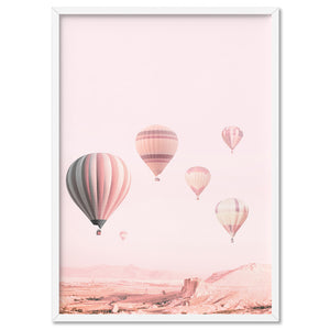 Hot Air Balloons in Blush  - Art Print, Stretched Canvas, or Framed Canvas Wall Art