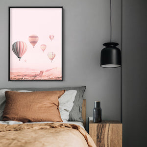 Hot Air Balloons in Blush  - Art Print, Stretched Canvas or Framed Canvas Wall Art, Shown inside a frame