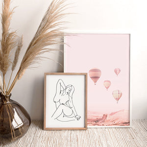 Hot Air Balloons in Blush  - Art Print, Stretched Canvas or Framed Canvas Wall Art, Shown framed in a room mockup