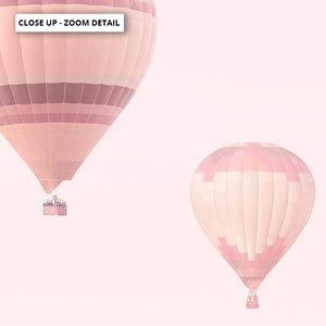 Hot Air Balloons in Blush  - Art Print, Stretched Canvas or Framed Canvas Wall Art, Close up View of Print Resolution