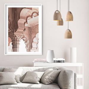 Agra Ornate Arches in Blush II  - Art Print, Stretched Canvas or Framed Canvas Wall Art, Shown inside a frame