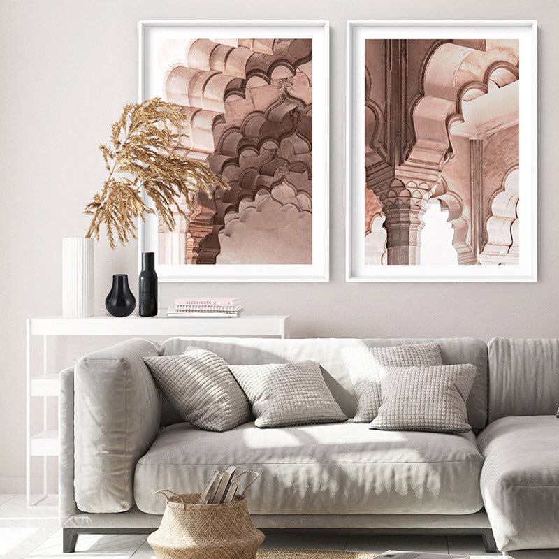 Agra Ornate Arches in Blush II  - Art Print, Stretched Canvas or Framed Canvas Wall Art, Shown framed in a room mockup