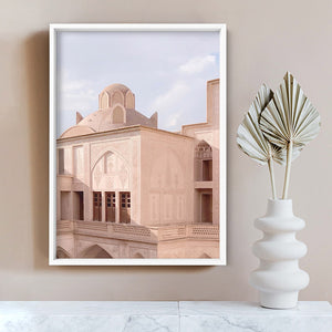 Moroccan Blush Balcony Views - Art Print, Stretched Canvas or Framed Canvas Wall Art, Shown inside a frame