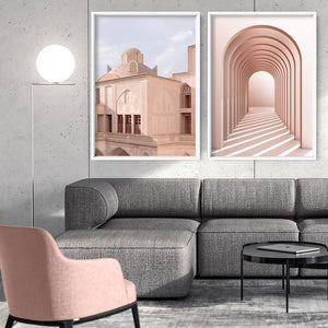 Moroccan Blush Balcony Views - Art Print, Stretched Canvas or Framed Canvas Wall Art, Shown framed in a room mockup
