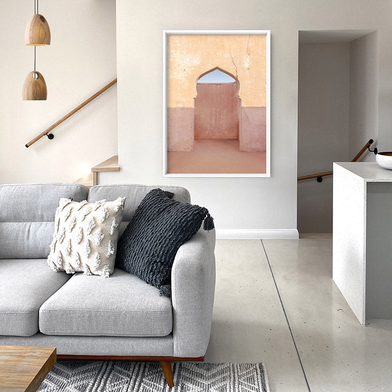 Moroccan Arch Doorway in the Desert - Art Print, Stretched Canvas or Framed Canvas Wall Art, Shown inside a frame