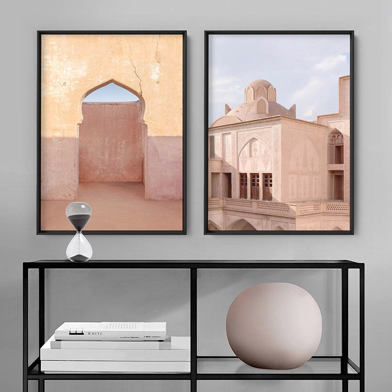 Moroccan Arch Doorway in the Desert - Art Print, Stretched Canvas or Framed Canvas Wall Art, Shown framed in a room mockup