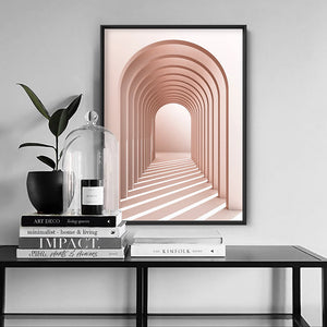 Blush Pink Arches - Art Print, Stretched Canvas or Framed Canvas Wall Art, Shown inside a frame