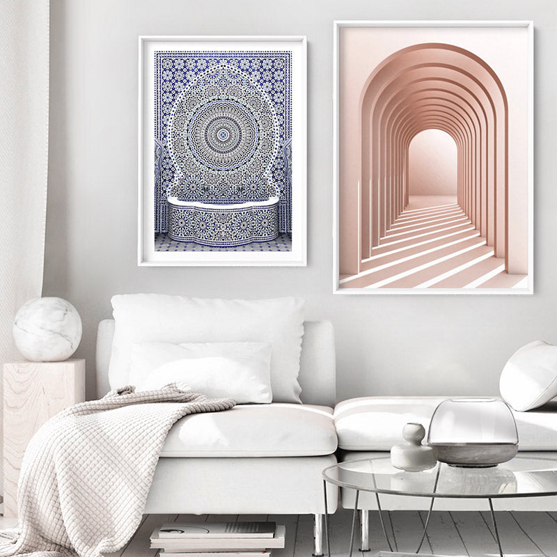 Blush Pink Arches - Art Print, Stretched Canvas or Framed Canvas Wall Art, Shown framed in a room mockup