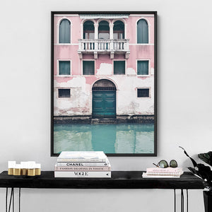 Venice Canal View in Teal & Blush - Art Print, Stretched Canvas or Framed Canvas Wall Art, Shown inside a frame