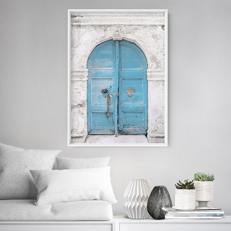 Arch Blue Doorway in Greece - Art Print, Stretched Canvas or Framed Canvas Wall Art, Shown inside a frame
