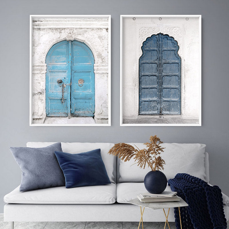 Arch Blue Doorway in Greece - Art Print, Stretched Canvas or Framed Canvas Wall Art, Shown framed in a room mockup