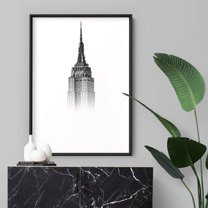 Empire State in the Clouds - Art Print, Stretched Canvas or Framed Canvas Wall Art, Shown inside a frame