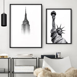 Empire State in the Clouds - Art Print, Stretched Canvas or Framed Canvas Wall Art, Shown framed in a room mockup