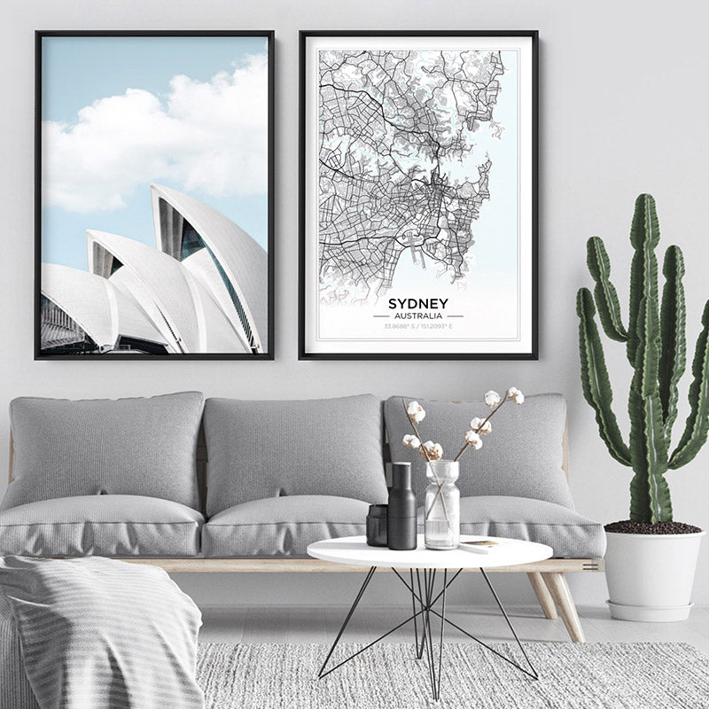 Sydney Opera House View I - Art Print, Stretched Canvas or Framed Canvas Wall Art, Shown framed in a room mockup