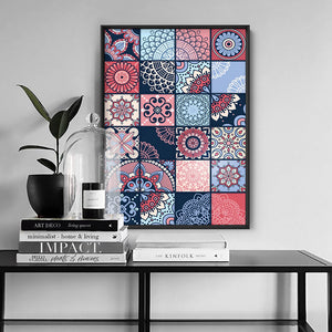 Moroccan Geo Tile Mosaic - Art Print, Stretched Canvas or Framed Canvas Wall Art, Shown inside a frame