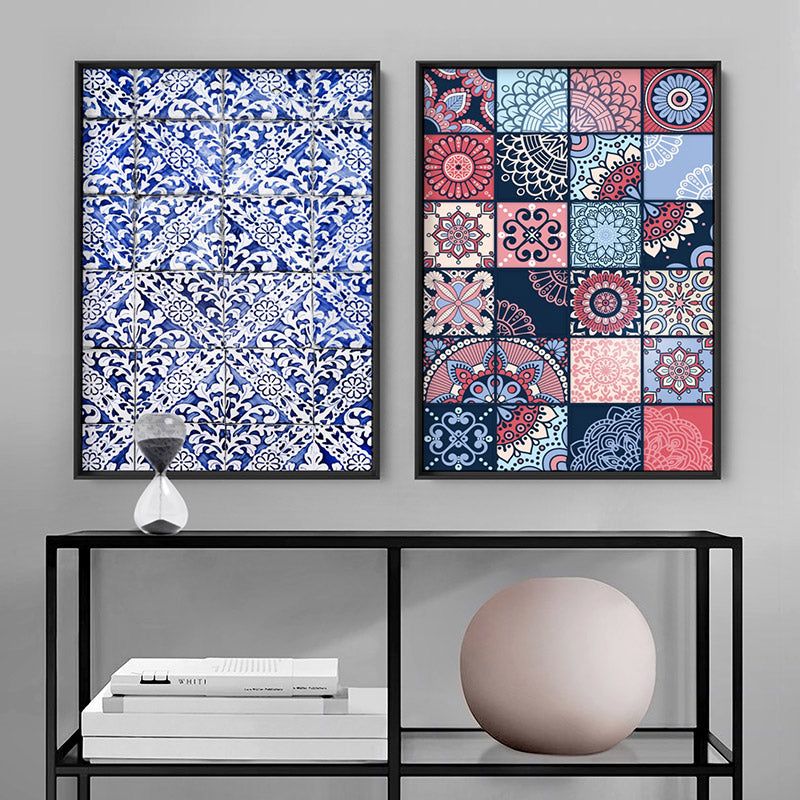 Moroccan Geo Tile Mosaic - Art Print, Stretched Canvas or Framed Canvas Wall Art, Shown framed in a room mockup