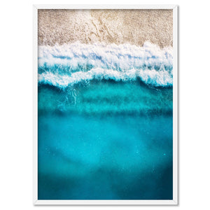 Aerial Ocean Blues & Soft Sand - Art Print, Stretched Canvas, or Framed Canvas Wall Art