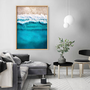 Aerial Ocean Blues & Soft Sand - Art Print, Stretched Canvas or Framed Canvas Wall Art, Shown inside a frame