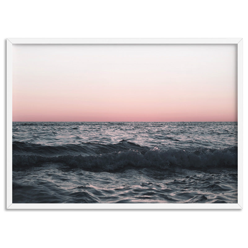 Sun & Sea at Dusk - Art Print, Stretched Canvas, or Framed Canvas Wall Art