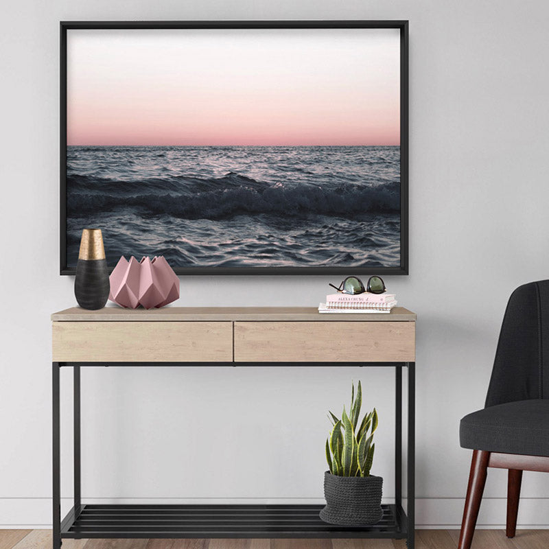 Sun & Sea at Dusk - Art Print, Stretched Canvas or Framed Canvas Wall Art, Shown inside a frame