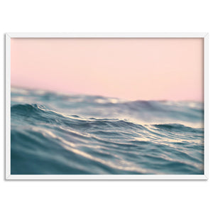 Soft Waves & Blush Sky - Art Print, Stretched Canvas, or Framed Canvas Wall Art