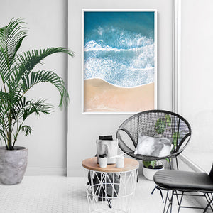 Sand & Sea from the Air V1 - Art Print, Stretched Canvas, or Framed Canvas Wall Art