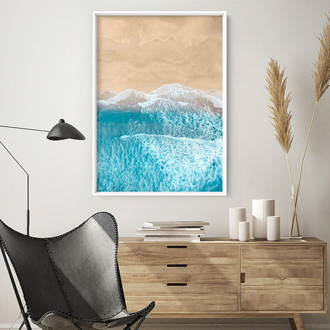 Sand & Sea from the Air V2 - Art Print, Stretched Canvas, or Framed Canvas Wall Art