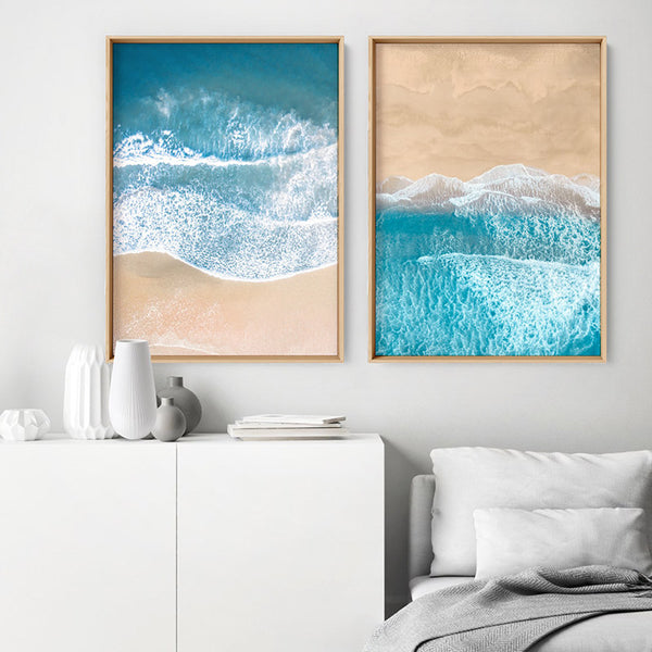Aerial Beach Sand Waves View II - Art Print, Stretched Canvas, or Framed Canvas Wall Art