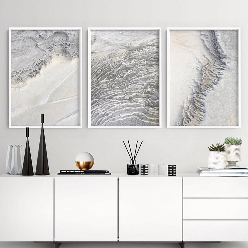 Seaside Coastal Rock Faces III - Art Print, Stretched Canvas or Framed Canvas Wall Art, Shown framed in a room mockup