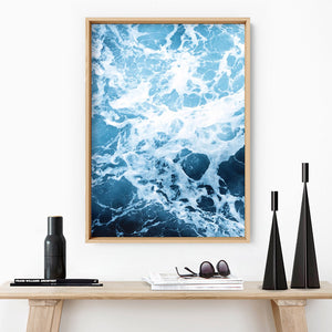 Load image into Gallery viewer, Ocean Beach Waves & Sea Foam II - Art Print, Stretched Canvas or Framed Canvas Wall Art, Shown inside a frame
