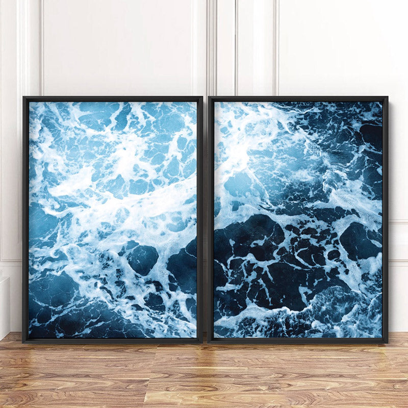 Ocean Beach Waves & Sea Foam II - Art Print, Stretched Canvas or Framed Canvas Wall Art, Shown framed in a room mockup