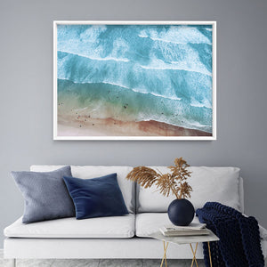 Summer Sea & Waves from the Air - Art Print, Stretched Canvas, or Framed Canvas Wall Art